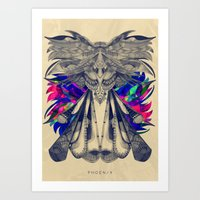 phoenix Art Prints featuring PHOENIX by Galvanise The Dog
