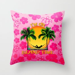 Pink Flowers Island Time Throw Pillow