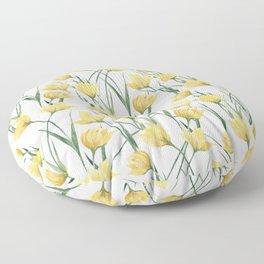 Yellow Woodland Tulips Floor Pillow