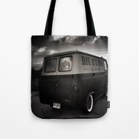 ford Tote Bags featuring old ford by Joedunnz