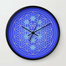 Flower Of Life - Blue Wall Clock