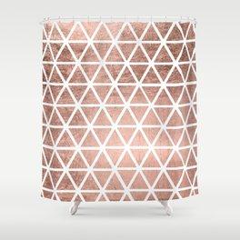 Geometric faux rose gold foil triangles pattern Shower Curtain