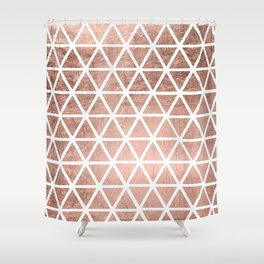 Geometric faux rose gold foil triangles pattern Shower Curtain