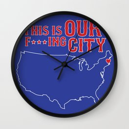 Boston Strong - This is our f***ing city - USA on dark Wall Clock