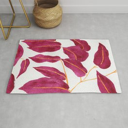 Ruby and gold leaves watercolor illustration Rug