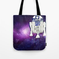 r2d2 Tote Bags featuring r2d2 by Lovemaltine