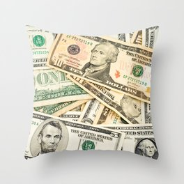 dollar bills Throw Pillow