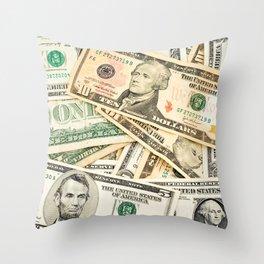 dollar bills Throw Pillow