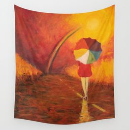 WOMAN WITH UMBRELLA Wall Tapestry
