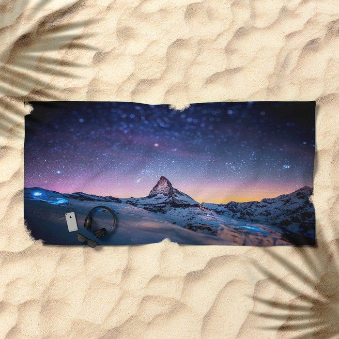 Mountain Reach the Galaxy Beach Towel