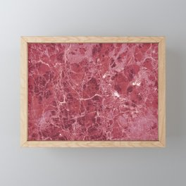 Colorful coral red marble Framed Mini Art Print