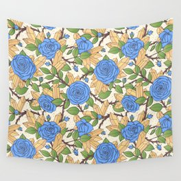 Blue Roses and Crystals Pattern Wall Tapestry