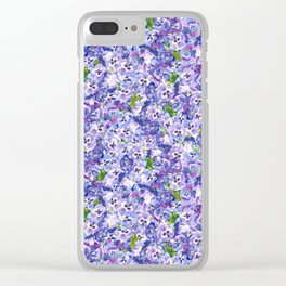 Blue velvety violets Clear iPhone Case