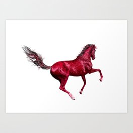 Happy Horse in Red Art Print