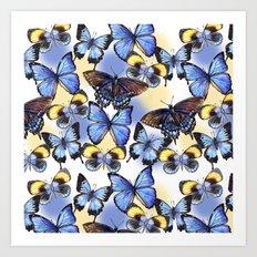 Pattern with butterflies Art Print