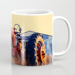 old tractor red machine vintage Coffee Mug