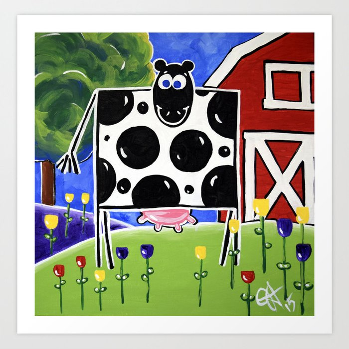 Smiley Smile Dairy Cow Farm Red Barn Moo Holstein Series Milk