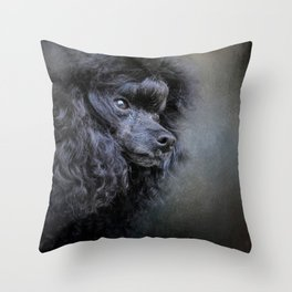 Snack Spotter - Black Toy Poodle Throw Pillow