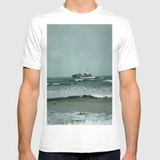 Leistering  Cargo Ship & Surfers Mens Fitted Tee White MEDIUM