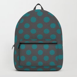 Large Polka Dots in Teal on Charcoal Gray Backpack