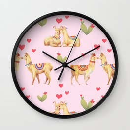 Llamas in llove pattern Wall Clock