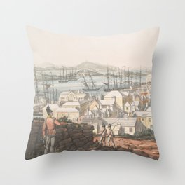 Vintage Pictorial Map of St George (1816) Throw Pillow