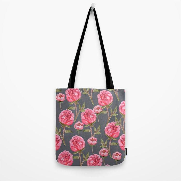 Pink Peonies On Grey Background Tote Bag