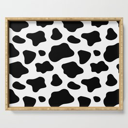 Cow Spots Pattern Cows Animal Farmer Black and White Art Serving Tray