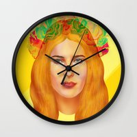 hemingway Wall Clocks featuring Dree Hemingway by Alejo Malia
