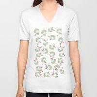 chicken V-neck T-shirts featuring Chicken by Natalia Burgos