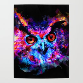 owl purple blue perfect Poster