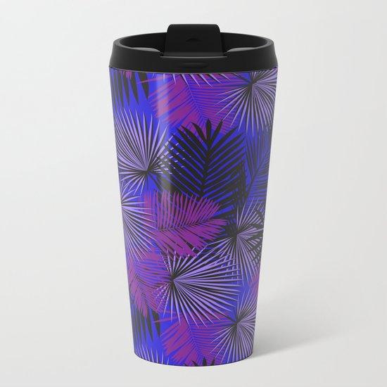 Tropical Black Purple & Blue Metal Travel Mug