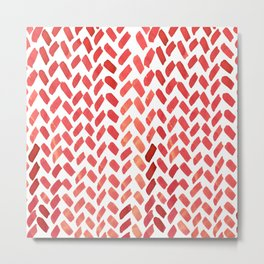 Cute watercolor knitting pattern - red Metal Print