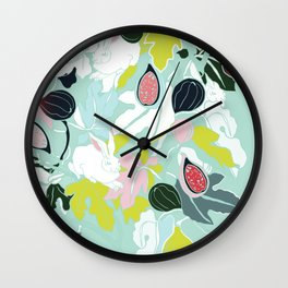 fig rabbit & leaves Wall Clock