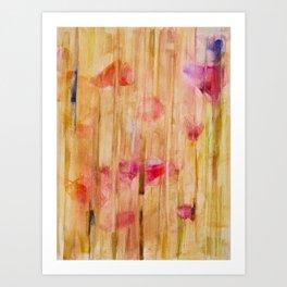 corn poppy in wheat field Art Print