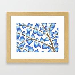 Breezy Blue Leaves Framed Art Print