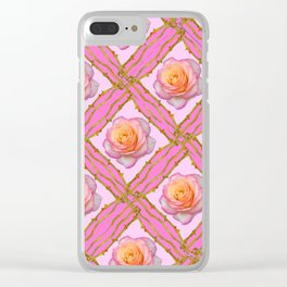 CREAMY  ROSES & RAMBLING THORNY CANES ON  PINK  DIAGONAL PATTERNS Clear iPhone Case
