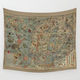 Carta Marina et Description 1539 Wall Tapestry