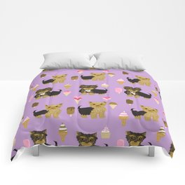 Yorkie ice cream gifts yorkshire terrier dog lover pet friendly patterns purple Comforters