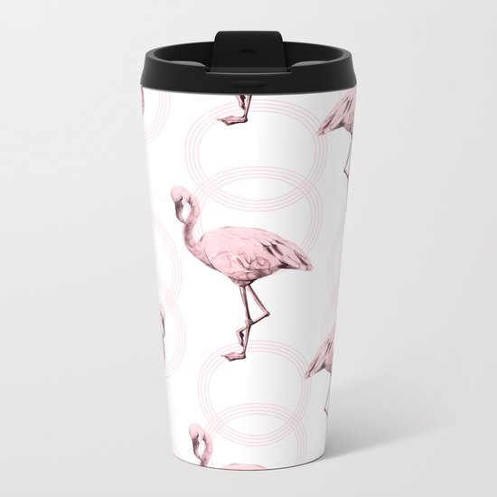 Mod Flamingos on Flamingo Pink Infinity Link Metal Travel Mug