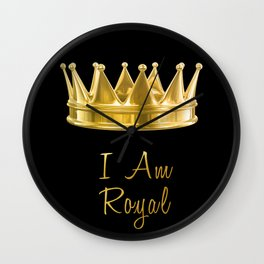 I am Royal in Black Wall Clock