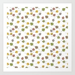 Colorado Aspen Tree Leaves Hand-painted Watercolors in Golden Autumn Shades on Clear Art Print