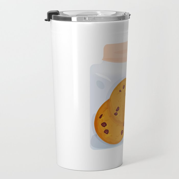 Chocolate chip cookie, homemade biscuit in glass jar Travel Mug