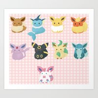 eevee Art Prints featuring Eevee Evolutions by Nozubozu