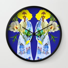 Faces on Her Dress Wall Clock