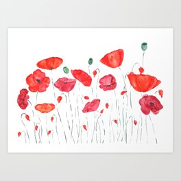 red and orange poppy field Art Print