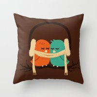 lovers Throw Pillows featuring Baby It's Cold Outside by Picomodi