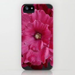 FUCHSIA-PINK  DOUBLE  HOLLYHOCK FLOWERS GARDEN iPhone Case