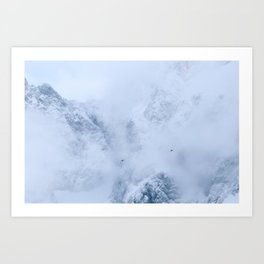 Ravens, snowy mountains and clouds Art Print