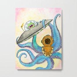 Alien vs Octopus Metal Print